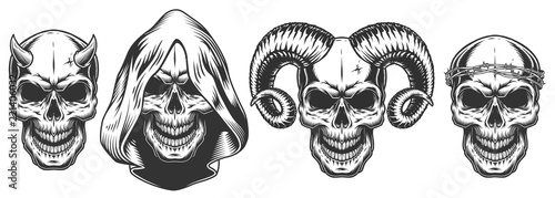 Canvas Print Set of demons skull with horns