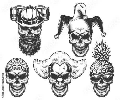 Set of skull in fun headwear Canvas Print