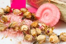 Soap, Shampoo And Shower Gel, Sea Salt And Rosebuds Closeup