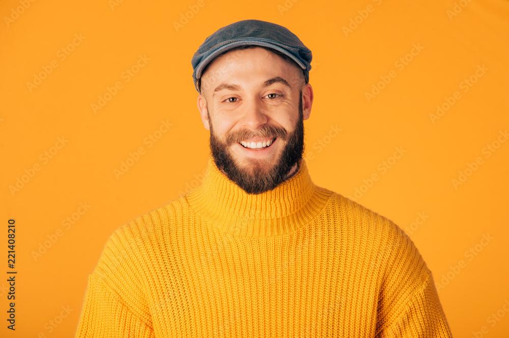Fototapeta Hipster man on studio  portraits set