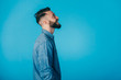 Hipster man on studio  portraits set