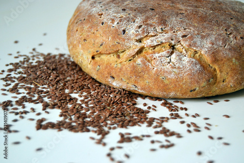 homemade bread with linen on the white background