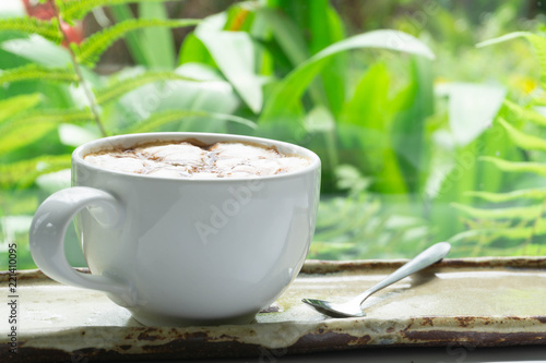 Staande foto Thee Close up glass of hot coffee with green nature background