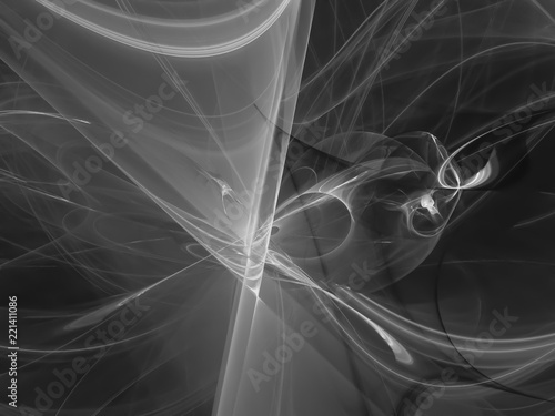fractal abstract, digital background, creative design, chaos black and white