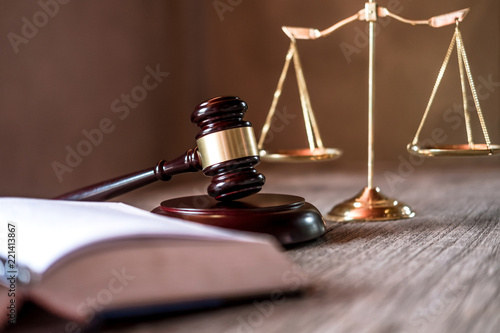 Fotografering  Judge gavel with Justice lawyers, object documents working on table