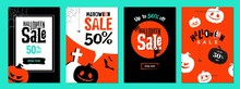 Halloween Sale Templates. Set Of Mobile Website Social Media Banners, Posters, Email And Newsletter Designs, Ads, Promotional Material. Vector Illustrations