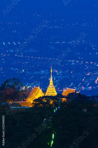 Foto op Plexiglas Bedehuis Wat Phra That Doi Suthep (Temple) is a major tourist destination of Chiang Mai, Thailand.