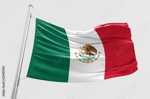 Fotografia  Isolated Mexican Flag waving 3d Realistic Mexican Flag Rendered