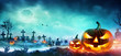canvas print picture Jack O Lanterns And Zombie Hands Rising Out Of A Graveyard In Misty Night