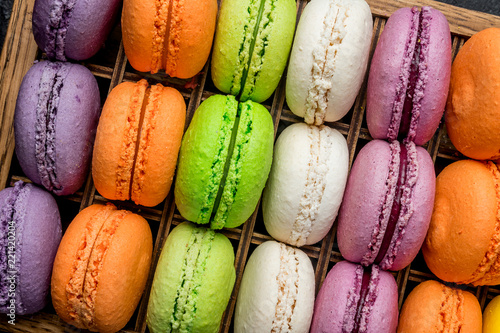 Poster Macarons multicolored macaroons in box