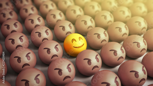 Emojis icons with facial expressions 3d render