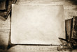 canvas print picture - old parchment on antique writing desk,sepia image
