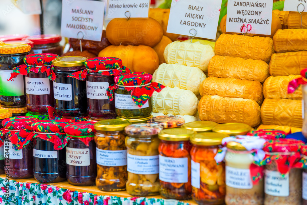Fototapety, obrazy: traditional cheeses of Zakopane in the showcase of the market in Poland