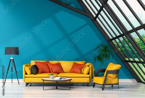 Poster Bleu jean interior modern living room and green landscape in window. 3D rendering