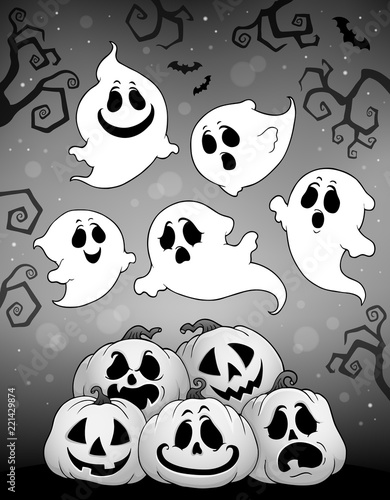 Halloween image with ghosts theme 6