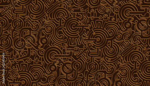 Fotografia, Obraz Seamless Vector Mechanical Pattern Texture