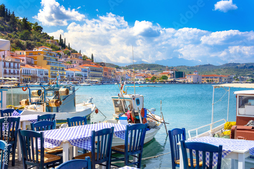 Foto op Canvas Restaurant View of the picturesque coastal town of Gythio, Peloponnese, Greece.