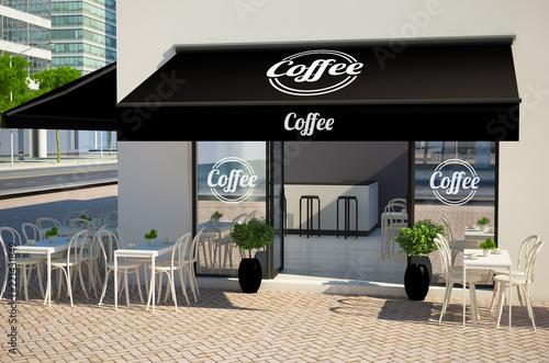 Fototapeta cafe facade mockup showing displays and awning