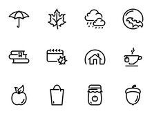 Set Of Black Vector Icons, Isolated Against White Background. Illustration On A Theme Autumn