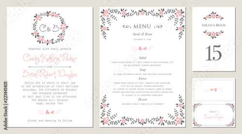 Invitation Menu Table Number And Name Place Card Design Floral
