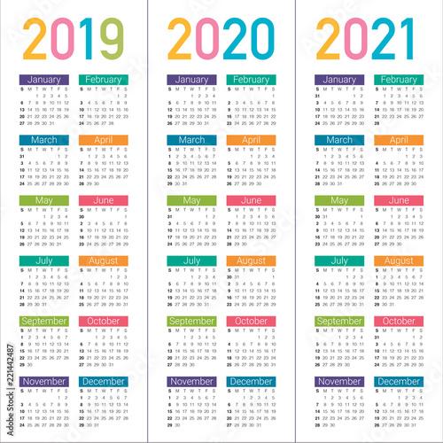 Year 2019 2020 2021 calendar vector design template - Buy ...