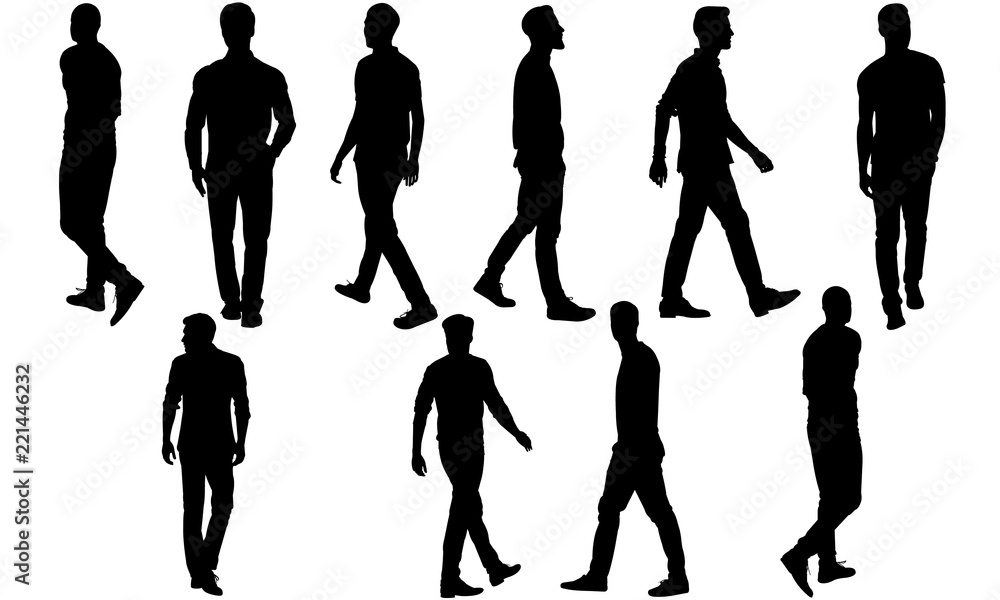 Fototapeta Man Walking Silhouette, Man Walking Clipart, SVG, cut file, cricut, vector svg dxf eps png ai