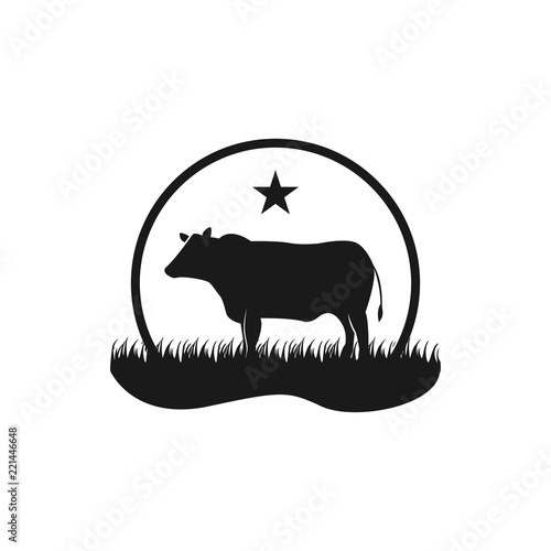фотография  Black angus cattle logo emblem design template