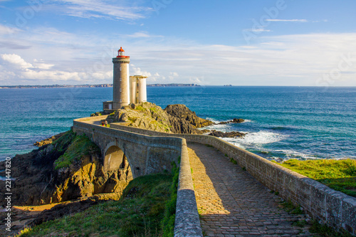 Poster Grijze traf. Petit Minou lighthouse near Brest city, Bretagne