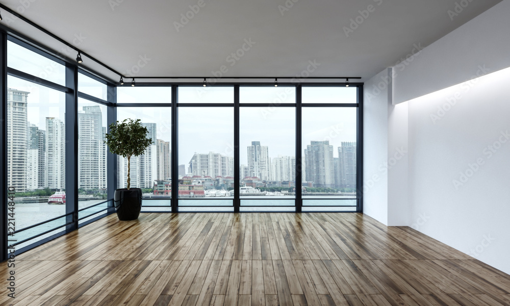 Fototapeta Large empty room overlooking a city CBD
