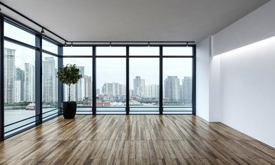 Large empty room overlooking a city CBD