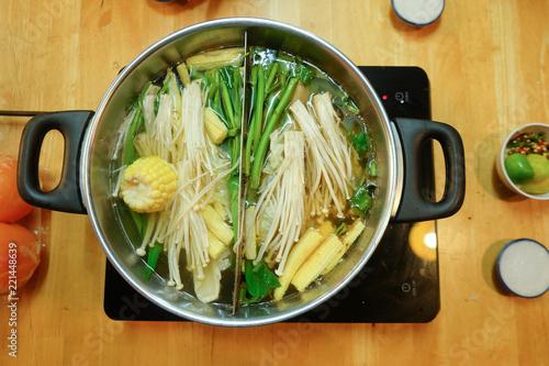 Staande foto Buffet, Bar Mix of vegetable in hot pot Sukiyaki