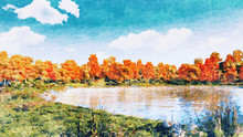 Decorative Watercolor Autumn Landscape With Scenic Colorful Trees On The Shore Of Forest Lake Or Pond At Sunny Autumnal Day. Digital Art Painting From My Own 3D Rendering File.