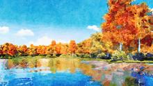 Beautiful Watercolor Autumn La...