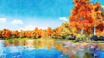 Beautiful watercolor autumn landscape with lush colorful autumnal trees on the shore of calm forest lake or pond at sunny fall day. Digital art painting from my own 3D rendering file.
