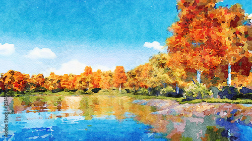 Poster Bleu Beautiful watercolor autumn landscape with lush colorful autumnal trees on the shore of calm forest lake or pond at sunny fall day. Digital art painting from my own 3D rendering file.