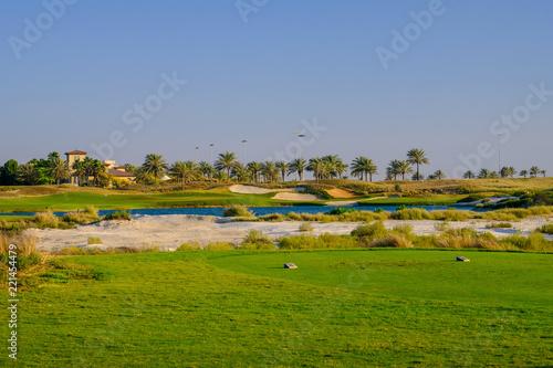 In de dag Abu Dhabi Golf Course at Saadiyat Island, Abu Dhabi, UAE