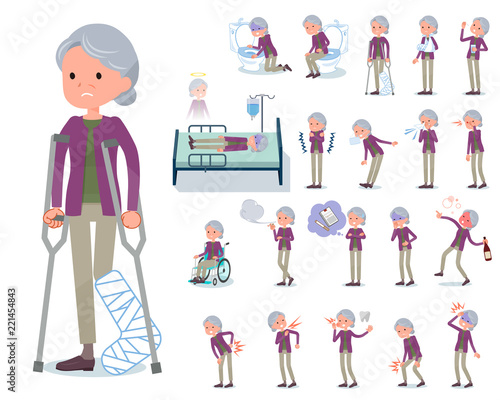 Photo flat type Purple clothes grandmother_sickness