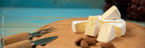 cheese brie camembert on blue wooden background Canvas Print