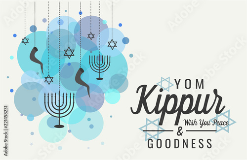 Photo Yom Kippur greeting card or background. vector illustration.