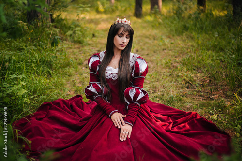A Beautiful Girl With Black Long Hair In A Medieval Red