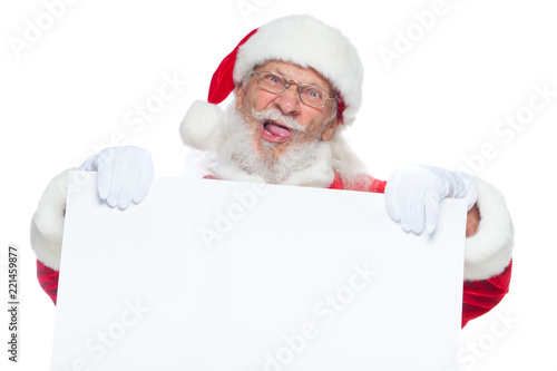 Christmas Evil Santa Claus In White Gloves With His Tongue