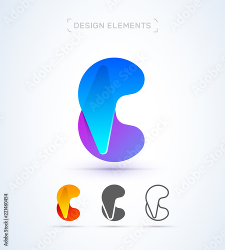 Vector Abstract Letter C Logo Design Elements Material