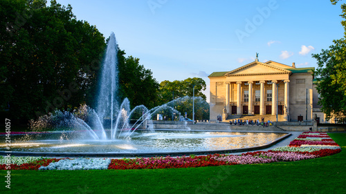 Recess Fitting Theater Grand Theatre - neoclassical opera house located in Poznań, Poland - in the rays of the setting sun