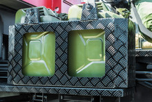 Fuel Can Is Attached To The Board Of A Truck Or Military Vehicle
