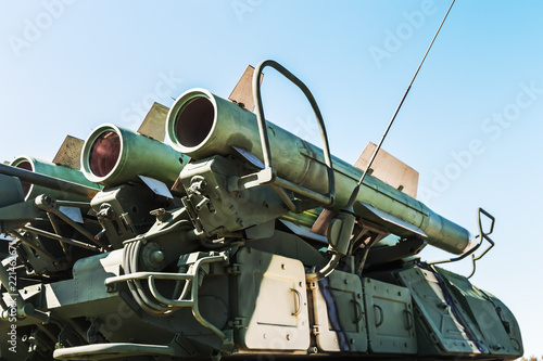 anti-aircraft missile system on against the blue sky Canvas Print