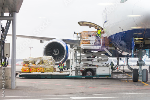 Obraz Loading cargo into the aircraft before departure - fototapety do salonu