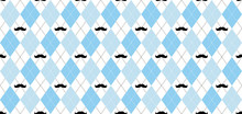 Argyle Vector Pattern. Light Blue And White Squares With Black Mustache And White Dotted Line. Seamless Geometric Background For Men's Clothing, Wrapping Paper. Little Man (baby Boy) Party Invite Card