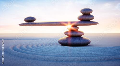 Deurstickers Stenen in het Zand Steine in Balance - Gleichgewicht bei Sonnenaufgang