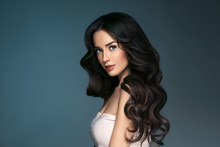 Beautiful Hairstyle Brunette Long Hair Woman Classic Hairs Curly