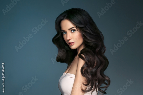 Beautiful hairstyle brunette long hair woman classic hairs curly Canvas